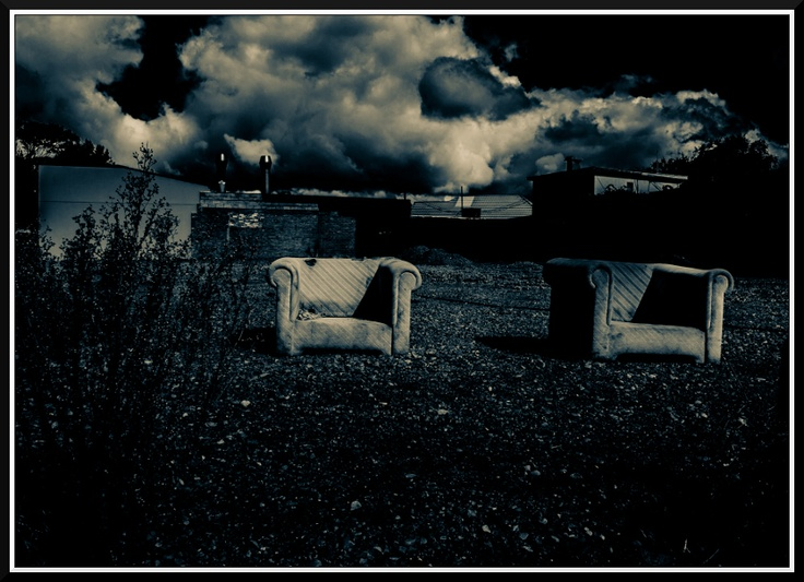 2 Chairs in a vacant lot. This vacant lot did have a petrol station on it before the Earthquakes...