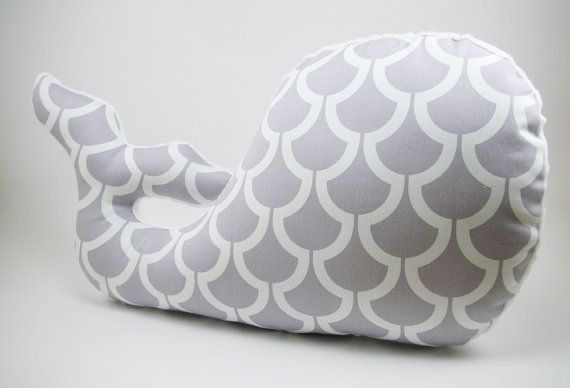 Whale Pillow Modern Nautical Nursery Decor gray by bakerbaby, $32.00
