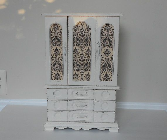 Jewelry Box  Large Wood Vintage Jewelry Cabinet  by MollyMcShabby, $72.00