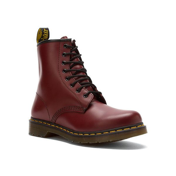 Dr. Martens Original 1460 W  Boots ($135) ❤ liked on Polyvore featuring shoes, boots, cherry red smooth, men, travel shoes, dr martens boots, long shoes, dr martens footwear and dr. martens