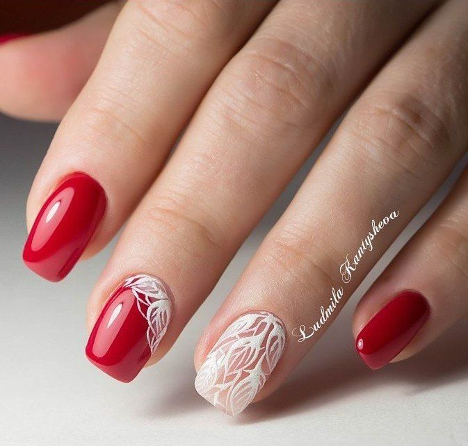 Nail Art 4080 Red Nails Festival Nails Red And White Nails