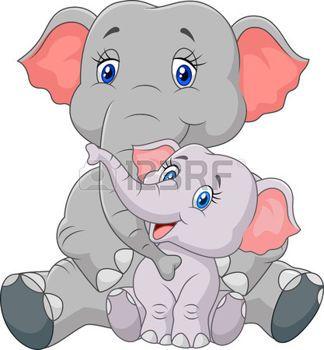 safari bebe: Ilustración vectorial de dibujos animados madre y el bebé elefante sentado aislados sobre fondo blanco