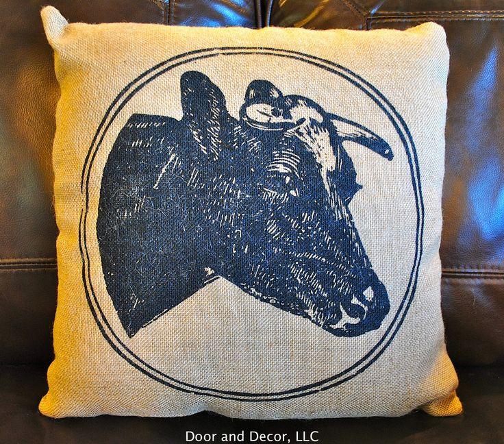 Cow pillow~burlap pillow~burlap cow pillow~cow print~cow decor~farmhouse pillow~rustic pillow~burlap~rustic farmhouse~pillows by DoorandDecor on Etsy