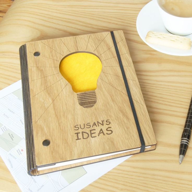 Personalised Wooden Ideas Notebook  personalised journal stationery