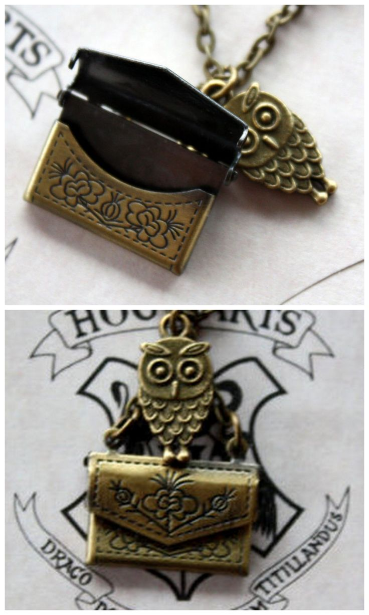 Harry Potter Owl Post Necklace features a bronze owl charm 'carrying' an envelope, but the best part is that the envelope really opens! by PrettyLittleCharmsUK on Etsy
