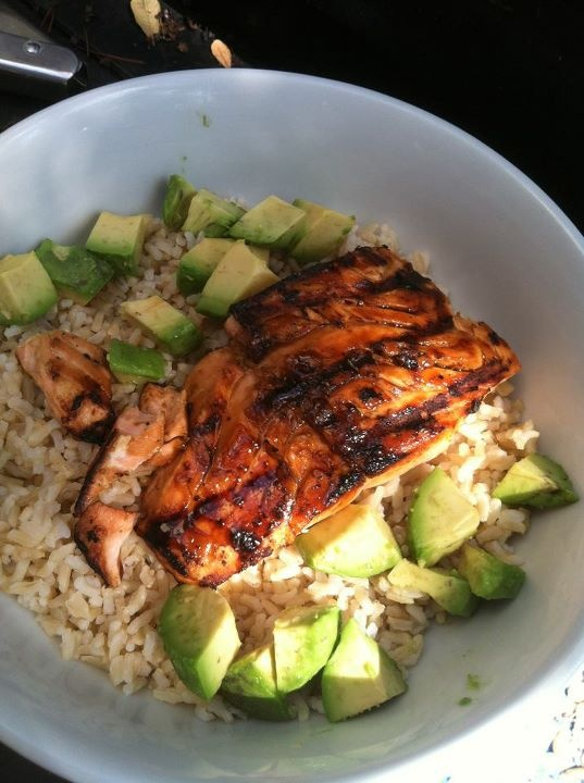 Teriyaki grilled salmon, avocado & whole grain rice. I call it deconstructed sushi.