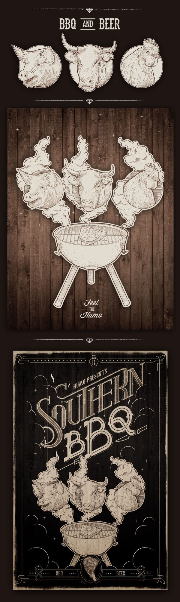 Southern BBQ / Humo by Mateo Rios, via Behance