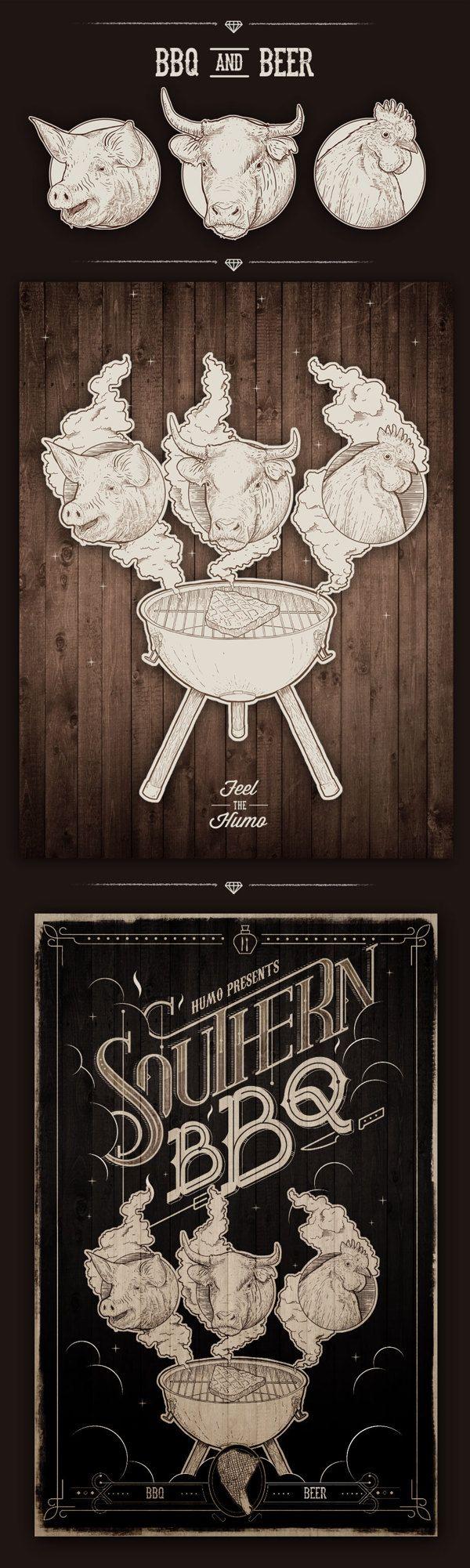 Southern BBQ / Humo by Mateo Rios, via Behance