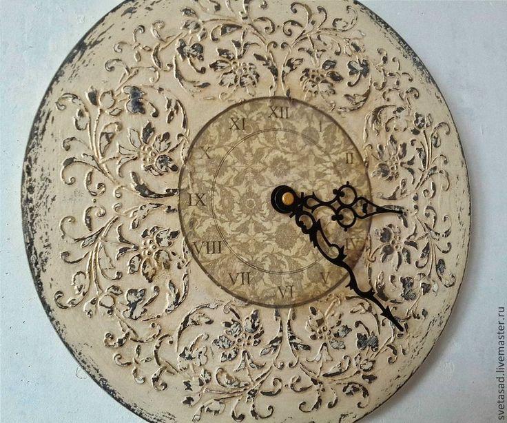 """Купить Часы декупаж """" Современное барокко"""" - бежевый, часы, часы настенные, часы интерьерные"""