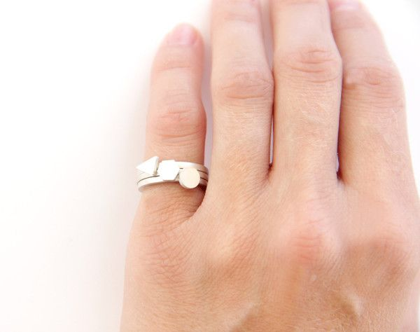 Thin Sterling Silver Geometric Stacking Rings - Set Of 3