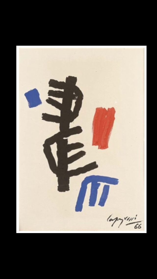 "Giuseppe Capogrossi - "" Superficie CP/993 "", 1966 - Tempera on paper laid on canvas - 35 x 25 cm"