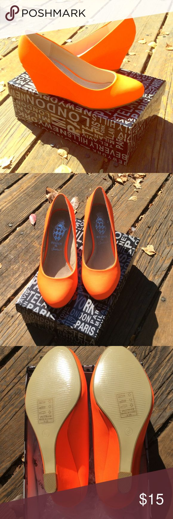 NWT neon Orange wedge heels Brand new in box, perfect condition! Neon orange wedge heels by Jacobies. Super cute and FUN! Size 6. Great for summer, festivals, club, etc. purchased from nordstrom last October to use with a Halloween costume but never used them. Nordstrom Shoes Wedges