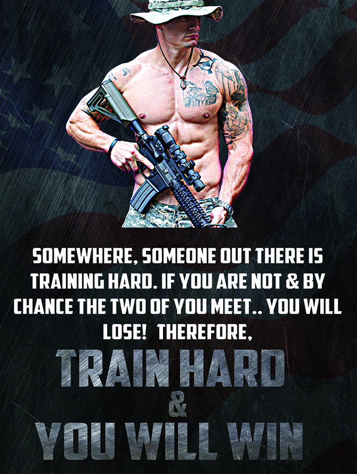 """US Military motivation poster """"Train Hard & You Will Win"""""""