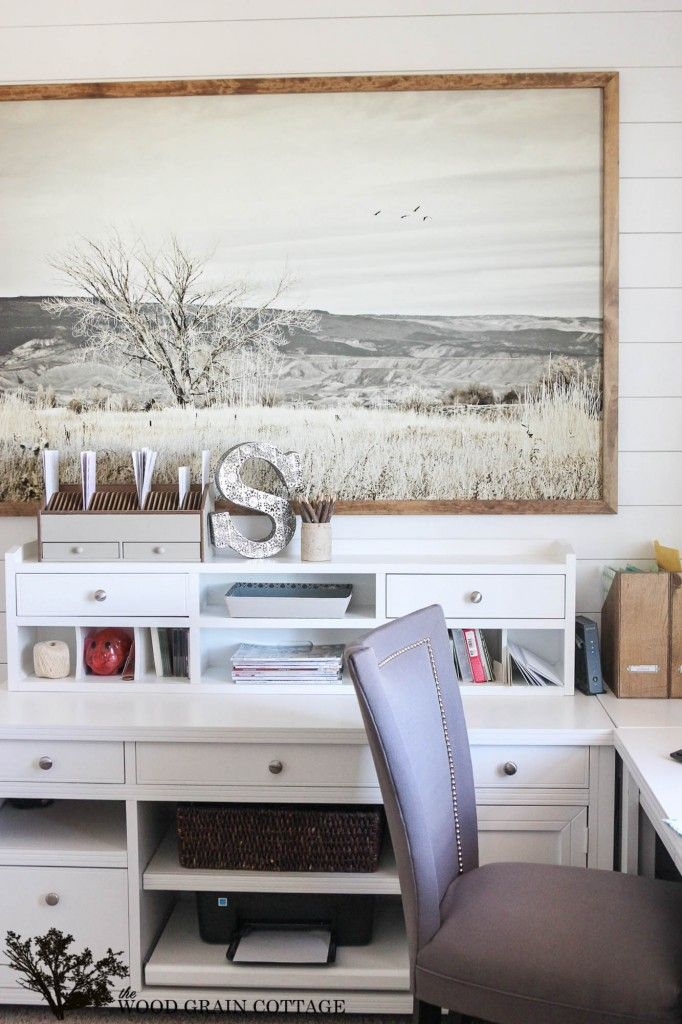 Huge Office Picture with Custom Frame - The Wood Grain Cottage-EXACTLY what I want to do in our dining room love the no nails appraoch!