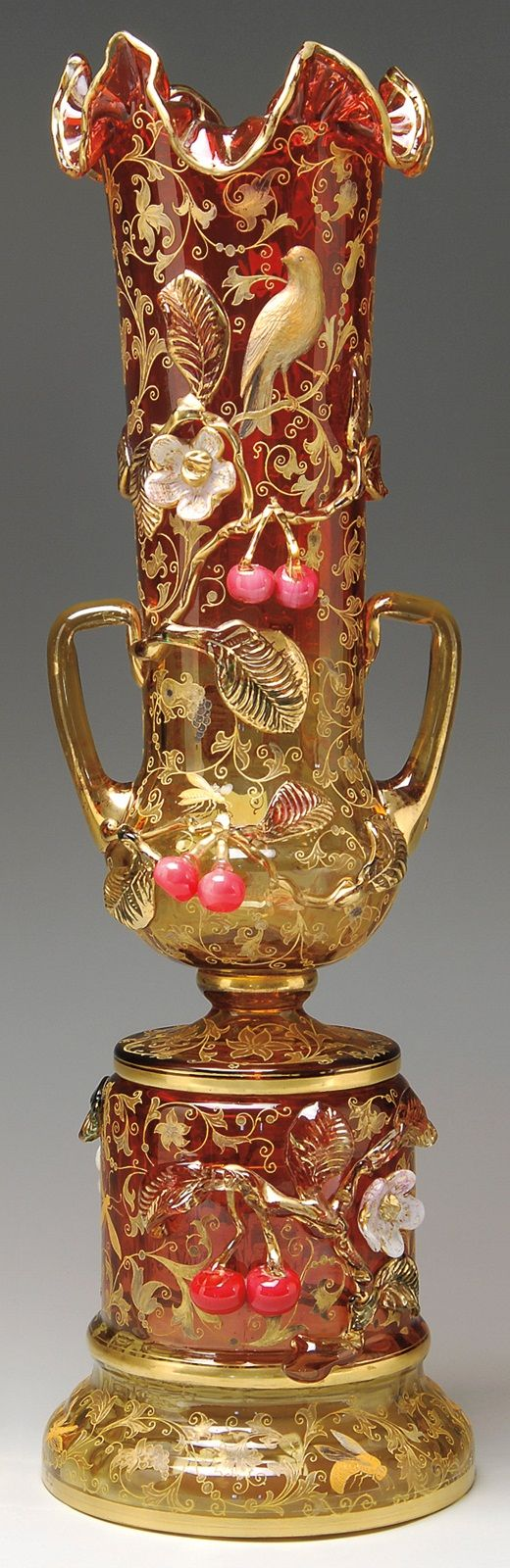 highvictoriana:    Ornate Moser bohemian glass vase, late 19th century.