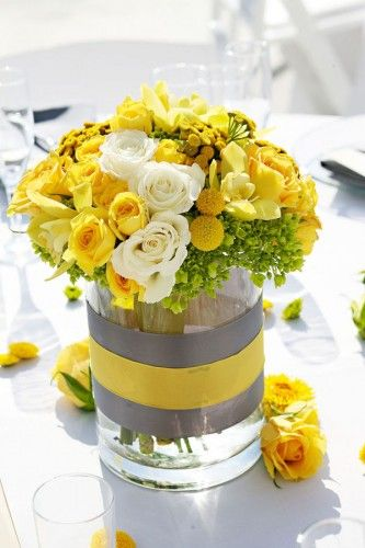 yellow & tray flowers: roses, billy balls, orchids, viburnum. So great for summer! #wedding #centerpieces #yellow