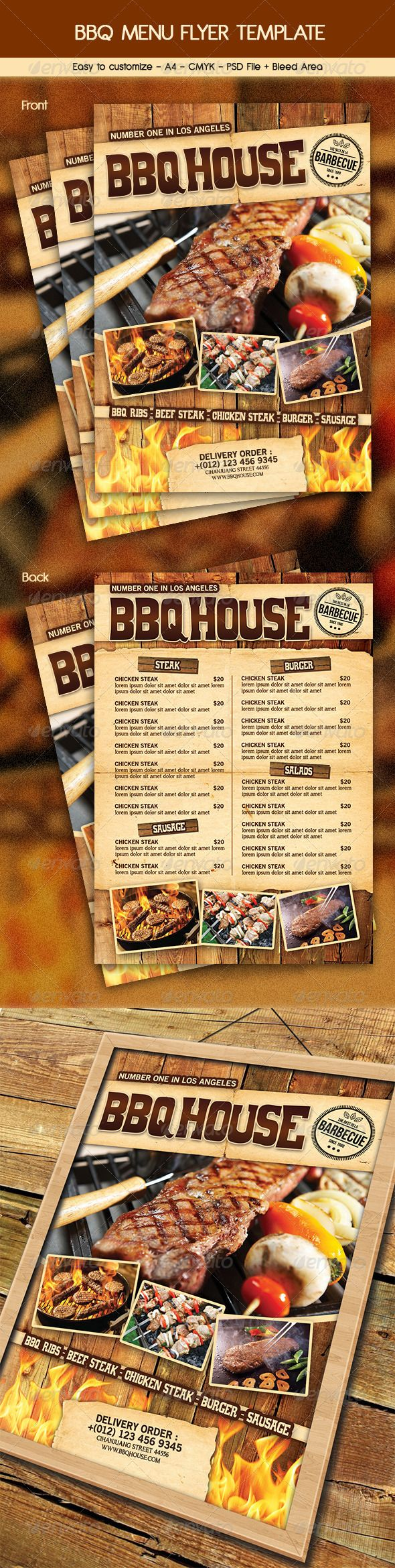 bbq steak menu flyer fast food menu flyer template and restaurant. Black Bedroom Furniture Sets. Home Design Ideas