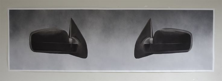 Michiel Pelerents, artist: Side mirrors Spray paint and pastel on paper, 240x70cm.