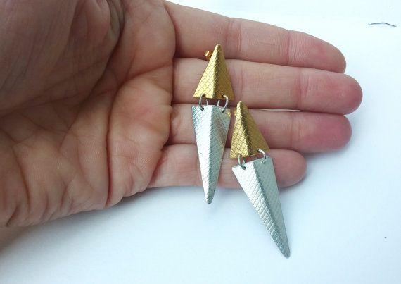 14ct goldplate long triangle earrings by LillyOJewellery on Etsy
