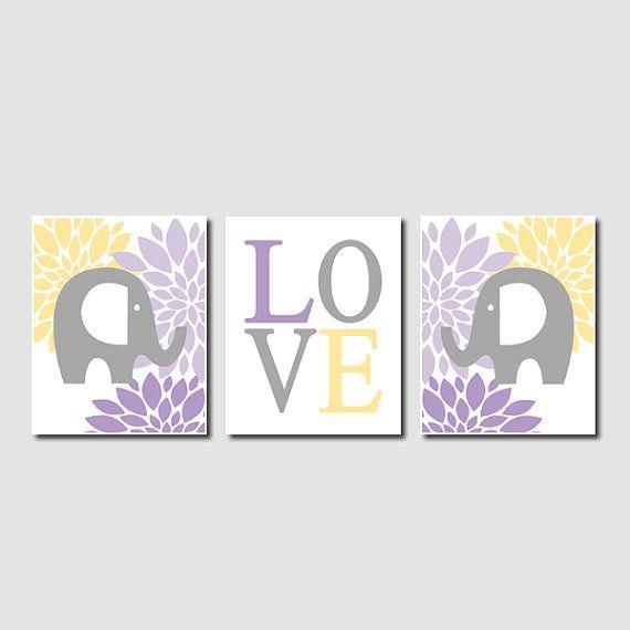 Floral Elephant Nursery Artwork Lavender Purple Gray Grey Yellow Love Set of 3 Prints Baby Girl Nursery Art Decor Wall Art Picture Safari