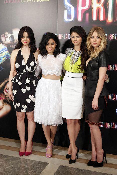 Selena Gomez, Vanessa Hudgens, Ashley Benson and Rachel Korine at the 'Spring Breakers' Madrid photocall.