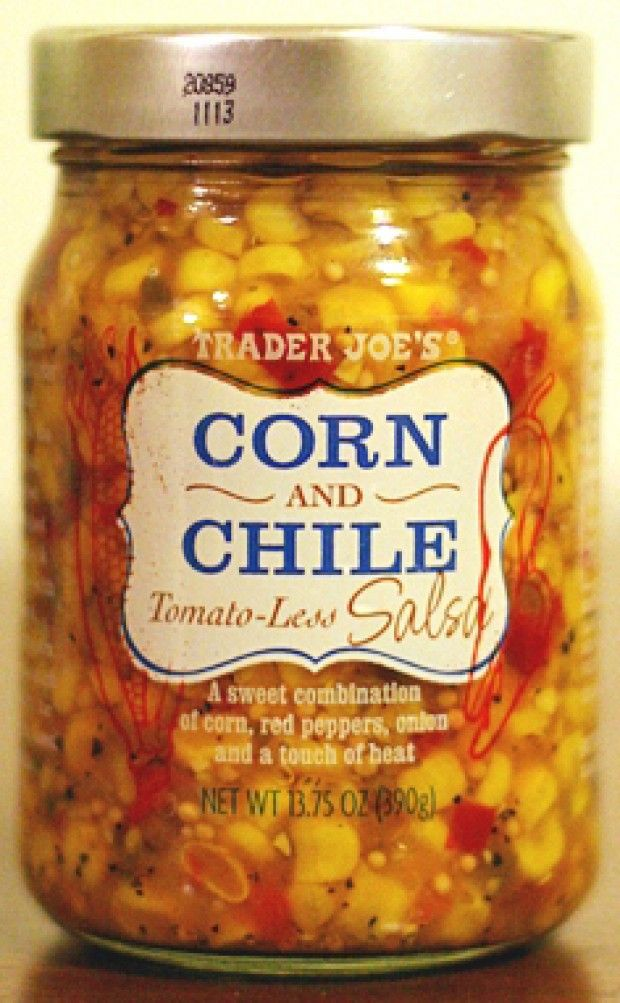 Trader Joe's Corn & Chile Salsa ~ pour over a block of cream cheese and dig in with Wheat Thins.... Delicious!