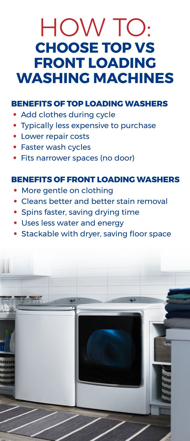 Keep these features in mind when shopping for front or top loading washing machines. Save up to 70% on the laundry units that fit your family's needs, online and in stores at Sears Outlet.