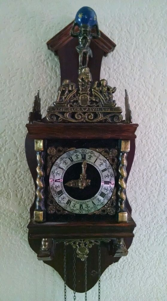 Nu Elck Syn Sin Atlas Clock Blue Delft Tile Brass Figures