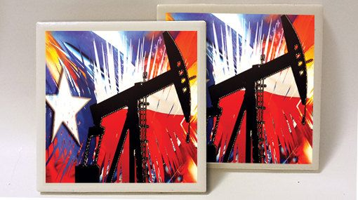 Texas Industrial Mural Oil Set of 2 Ceramic Tile by lucky20stuff