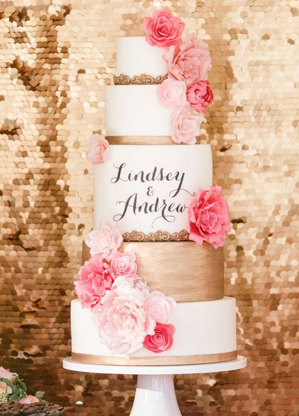 This pink, white, and gold cake oozes romance – especially with the couple's name hand painted on the middle tier. Wedding Cakes, Cake by S'more Sweets