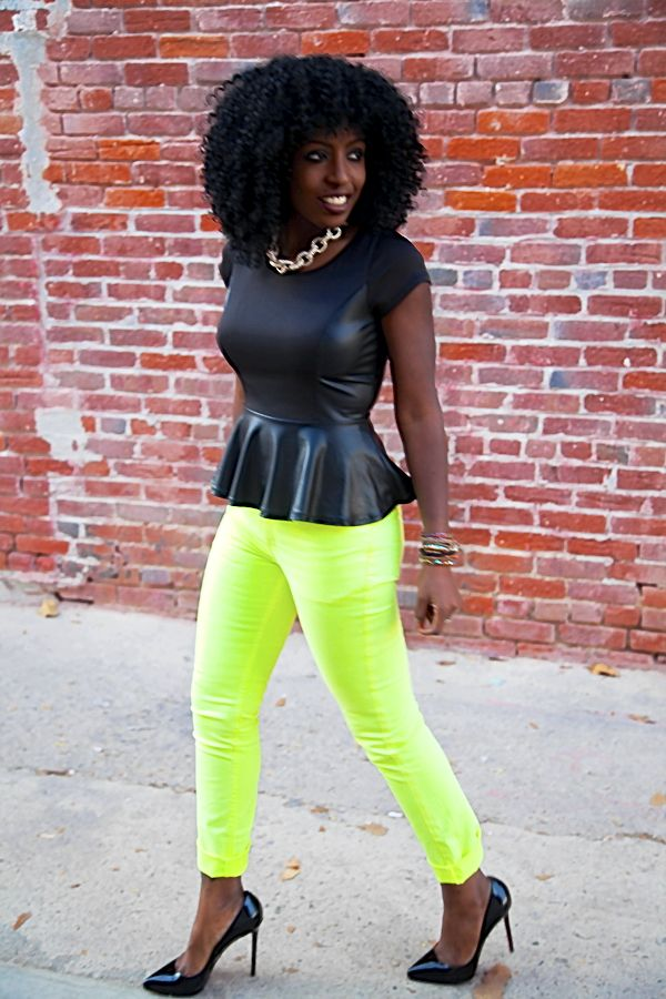 Double Breasted Coat + Peplum Blouse + Neon Jeans
