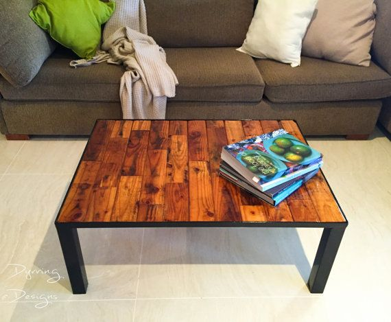 Pallet and metal glassed coffee table