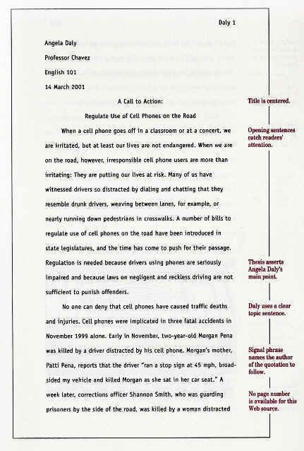 mla format example essay