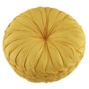 The Land of Nod | Kids Throw Pillows: Yellow Ruched Throw Pillow in Throw Pillows