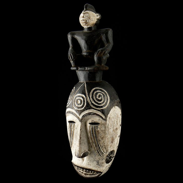 "Igbo Ancestor Mask #070 - 17"" h - Wood, pigment - Wolfz-Gallery African Art Collection"