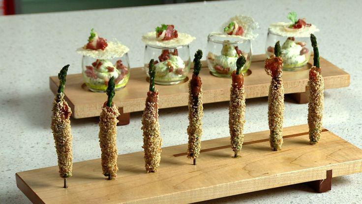 Une recette d'asperges frites au prosciutto et au sésame présentée sur Zeste et Zeste.tv