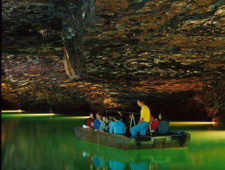 The Lost Sea in Sweetwater, TN. It's listed as America's Largest Underground lake. Been and loved it!