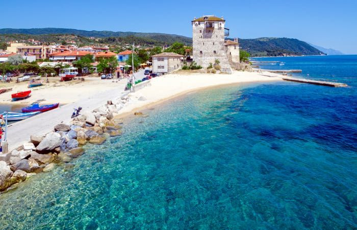 Phospfori tower in Ouranopolis on the Chalkidiki in Northern Greece. This is a popular area for Greeks but doesn't see a lot of foreign tourists even though it's beautiful and loaded with great beaches.