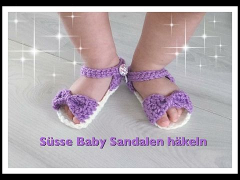 einfache baby sandalen h keln babyschuhe h keln 0 3 monate 3 6 monate 6 12 monate youtube. Black Bedroom Furniture Sets. Home Design Ideas