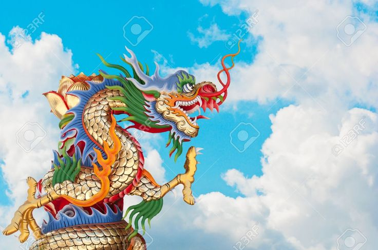 12009555 Chinese Dragon And Blue Sky Background Stock