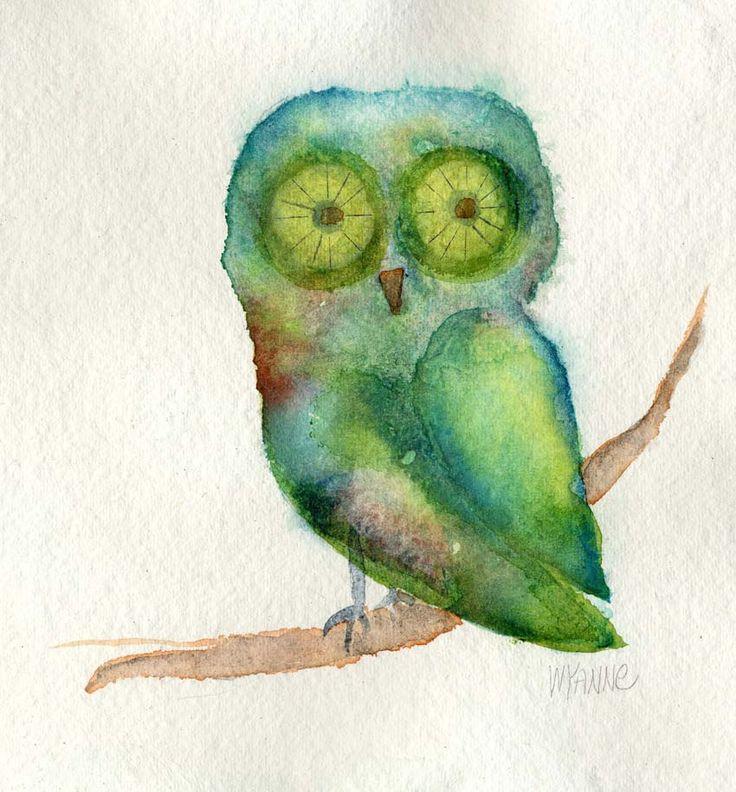 """""""Green Owl"""" par Wyanne Thompson"""