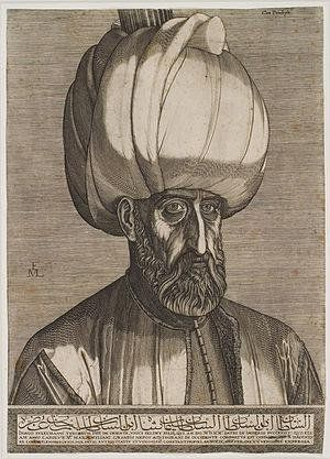 Sultan Suleiman, allegedly seen by Lorck in #Istanbul on February 15, 1559, engraving. #Ottoman #Constantinople