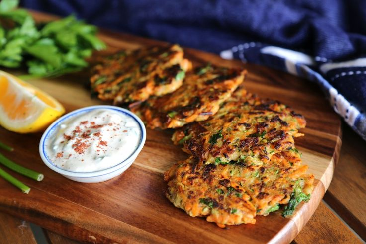 Vegan zucchini and sweet potato fritters with sumac yoghurt