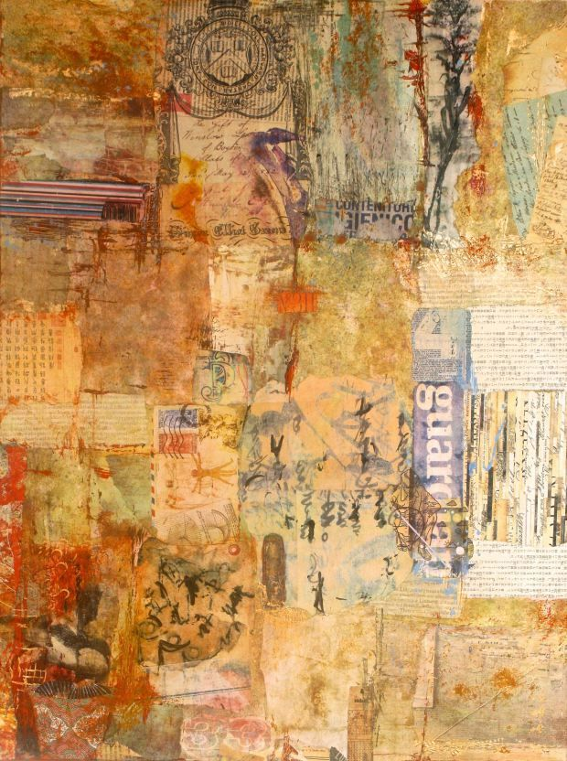 """Ifigenia Christodoulidou  """"Guardian Angel""""   Mixed media collage, acrylic, photo transfer and paper on canvas, 60x40 cm"""