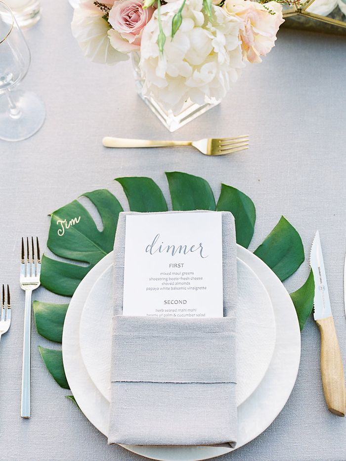Modern tropical Maui wedding inspiration, White Linen Dinnerware by Set Maui, Couture Events, Jana Dillon Photography