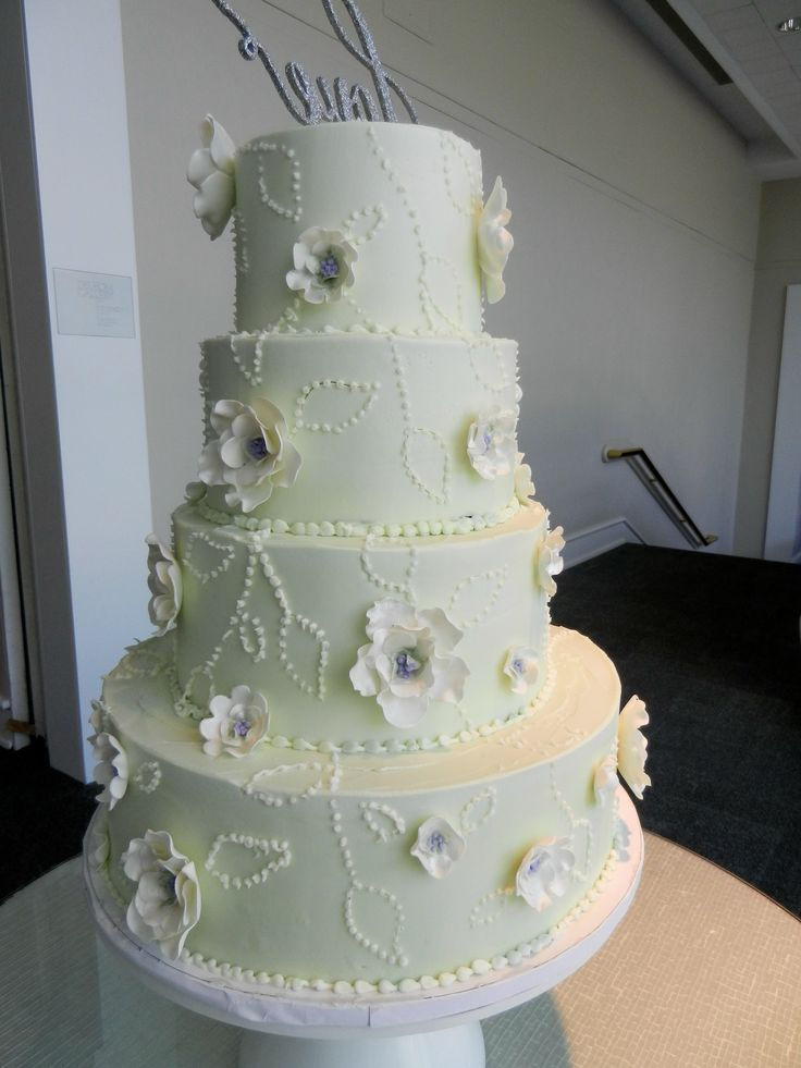 pale green wedding cake and sugar flowers wwwcheesecakeetcbiz wedding cakes charlotte nc