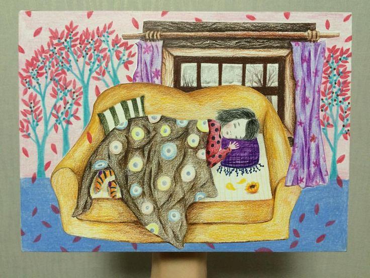 행복한 낮잠••••••••••••••••••••••••••••••••••••••••••#손그림 #수제엽서 #drawing #art #artwork #illust #일러스트#illustration