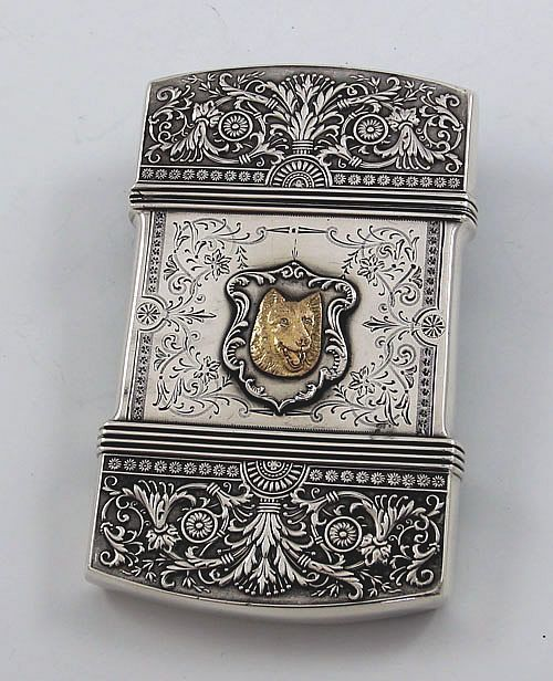 Victorian Sterling card case with a Dog in the center, made by Whiting.