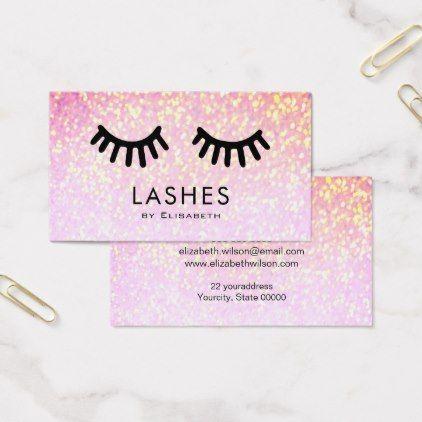 #makeupartist #businesscards - #cartoon big lashes on faux sparkle makeup artist business card