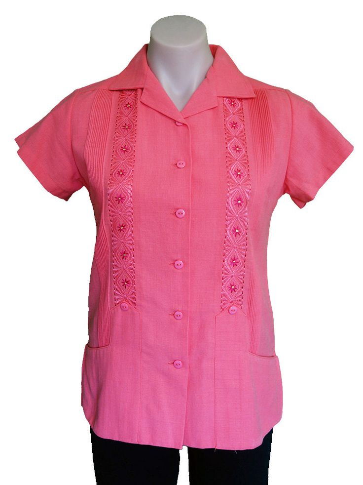 ON SALE Linen Short Sleeve Embroidered 'Guayabera' with Front Pockets | Salmon Rose Colour | Size S-M | WAS 94AUD by MexicanitaBoutique on Etsy